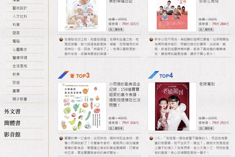 博客來2015年度百大親子TOP3